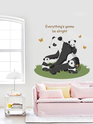 "Rawpockets Wall Decals ' "" Everything Gonna Be Alright "" Quote and Panda Bear '  Wall stickers (PVC Vinyl) Multicolour - 15734077 - Standard Image - 1"