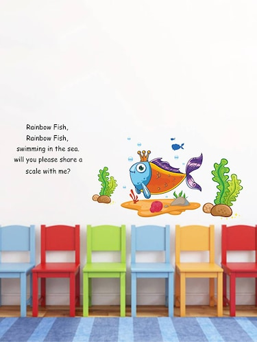 Rawpockets Wall Decals ' Rainbow Fish Rainbow Fish Poem - Kid's Room '  Wall stickers (PVC Vinyl) Multicolour - 15734078 - Standard Image - 1