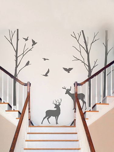 Rawpockets Wall Decals ' Deer and Jungle Black Story '  Wall stickers (PVC Vinyl) Multicolour - 15734083 - Standard Image - 1