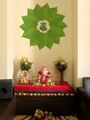 Rawpockets Wall Decals ' Lord Ganesha Green Decorative Leaves '  Wall stickers (PVC Vinyl) Multicolour - 15734092 - Standard Image - 1