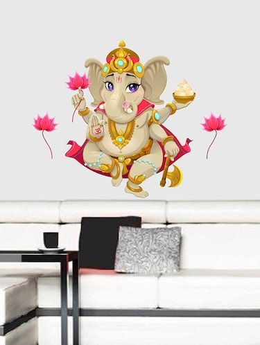 Rawpockets Wall Decals ' Lord Ganesha with Lotus Flower  '  Wall stickers (PVC Vinyl) Multicolour - 15734096 - Standard Image - 1