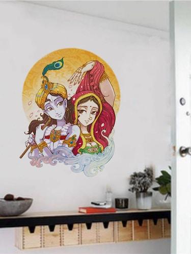 2fda2a01a7 Rawpockets Wall Decals ' Lord Krishna Radha Flute Singing ' Wall stickers  (PVC Vinyl) Multicolour