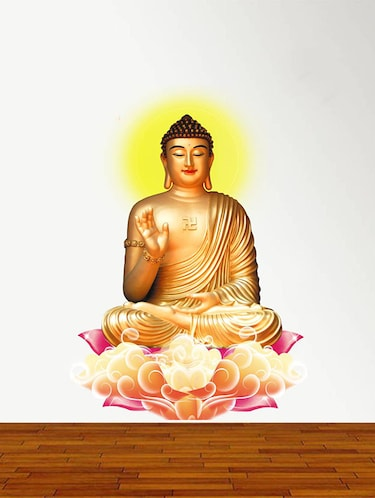Rawpockets Wall Decals ' Lord Buddha Peaceful on Lotus '  Wall stickers (PVC Vinyl) Multicolour - 15734113 - Standard Image - 1