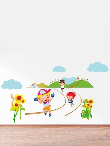 Rawpockets Wall Decals ' Kids Marathon - Kids Room '  Wall stickers (PVC Vinyl) Multicolour - 15734119 - Standard Image - 1