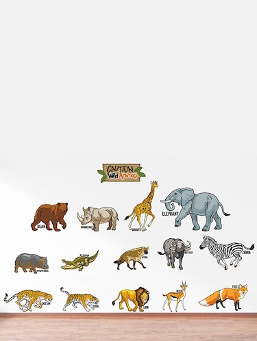 Rawpockets Wall Decals ' Caution Wild animals - Kids Room '  Wall stickers (PVC Vinyl) Multicolour - 15734122 - Standard Image - 1