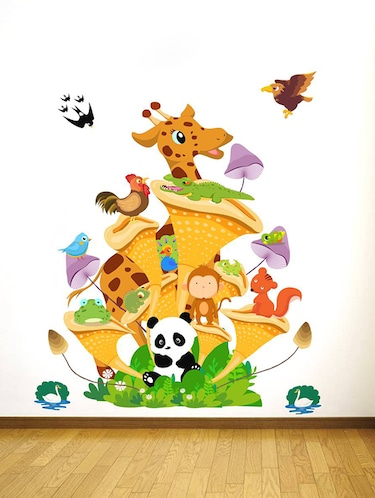 Rawpockets Wall Decals ' Animals Tree House - Kids Room '  Wall stickers (PVC Vinyl) Multicolour - 15734132 - Standard Image - 1