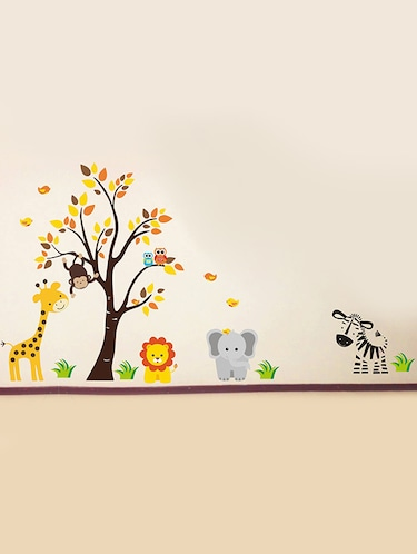 Rawpockets Wall Decals ' Baby Jungle Animals Story '  Wall stickers (PVC Vinyl) Multicolour - 15734138 - Standard Image - 1