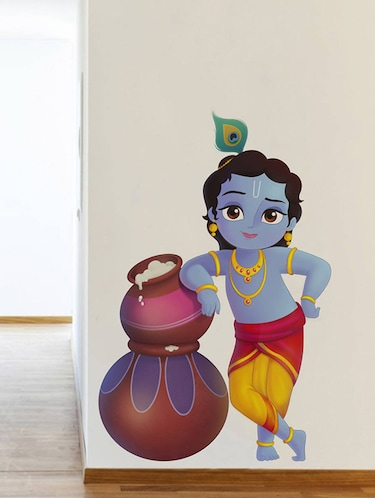 Rawpockets Wall Decals ' Lord Krishna and Butter Pots '  Wall stickers (PVC Vinyl) Multicolour - 15734139 - Standard Image - 1