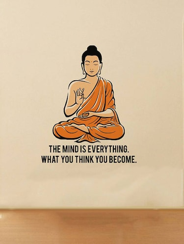 Rawpockets Wall Decals ' Peaceful Buddha and Quote on Mind '  Wall stickers (PVC Vinyl) Multicolour - 15734141 - Standard Image - 1