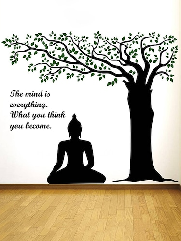 Rawpockets Wall Decals ' Lord Buddha under Tree and Quote on Mind '  Wall stickers (PVC Vinyl) Multicolour - 15734143 - Standard Image - 1