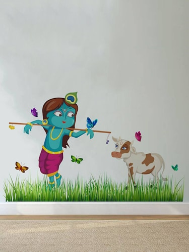 Rawpockets Wall Decals ' Lord Krishna Cow Grass Butterfly Story '  Wall stickers (PVC Vinyl) Multicolour - 15734146 - Standard Image - 1