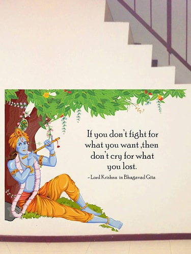 Rawpockets Wall Decals ' Lord Krishna Flute Bhagavad Gita Quote '  Wall stickers (PVC Vinyl) Multicolour - 15734147 - Standard Image - 1