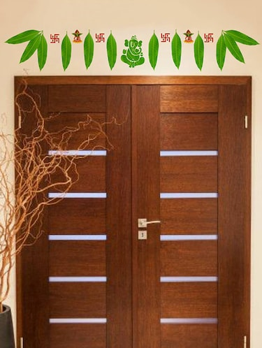 Rawpockets Wall Decals ' Mango Leaves with Ganapathi Decorative for Doors '  Wall stickers (PVC Vinyl) Multicolour - 15734158 - Standard Image - 1