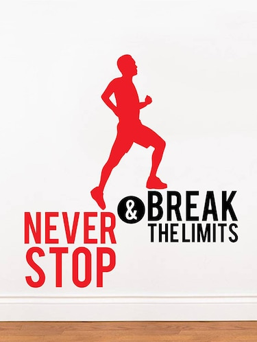 Rawpockets Wall Decals '  Never Stop and Break limits ' Motivational Quote '  Wall stickers (PVC Vinyl) Multicolour - 15734161 - Standard Image - 1