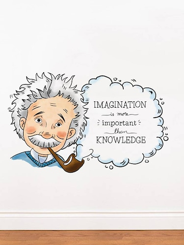 Rawpockets Wall Decals ' Albert Einstein Imagination Quote '  Wall stickers (PVC Vinyl) Multicolour - 15734162 - Standard Image - 1