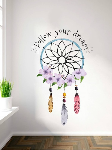 Rawpockets Wall Decals ' Follow Your Dream '  Wall stickers (PVC Vinyl) Multicolour - 15734166 - Standard Image - 1