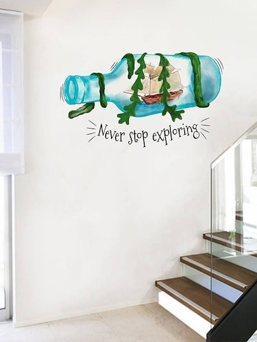 Rawpockets Wall Decals ' Never Stop Exploring '  Wall stickers (PVC Vinyl) Multicolour - 15734169 - Standard Image - 1