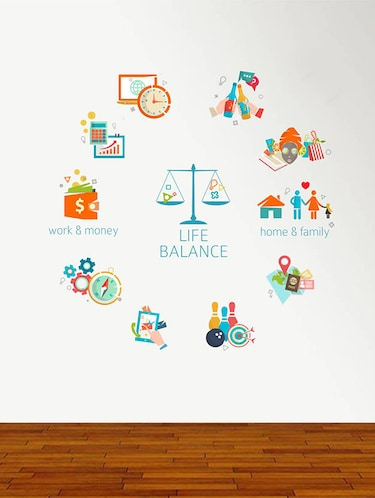 Rawpockets Wall Decals ' Life Balance Chart '  Wall stickers (PVC Vinyl) Multicolour - 15734170 - Standard Image - 1