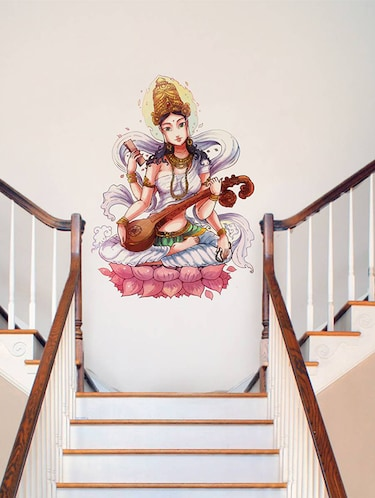Rawpockets Wall Decals ' Goddess Saraswathi  '  Wall stickers (PVC Vinyl) Multicolour - 15734182 - Standard Image - 1
