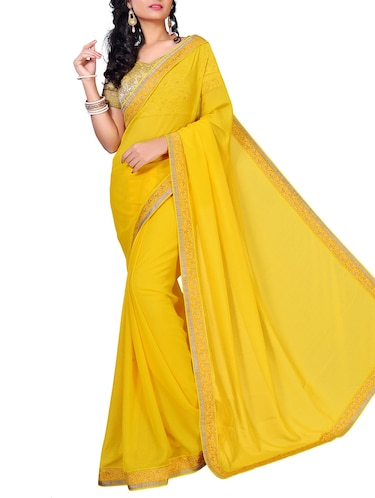 floral lace border saree with blouse - 15734513 - Standard Image - 1