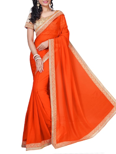 floral lace border saree with blouse - 15734526 - Standard Image - 1