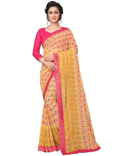 floral printed saree with blouse - 15734770 - Standard Image - 1