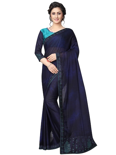 embellished pallu bordered saree with blouse - 15734781 - Standard Image - 1