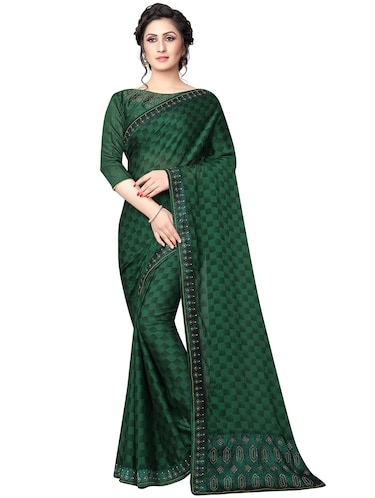 checkered printed saree with blouse - 15734785 - Standard Image - 1