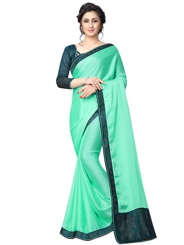 embellished pallu bordered saree with blouse - 15734787 - Standard Image - 1