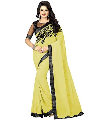 floral dori embroidered saree with blouse - 15734916 - Standard Image - 1