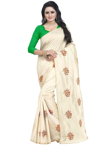 beige embroidered saree with blouse - 15734925 - Standard Image - 1