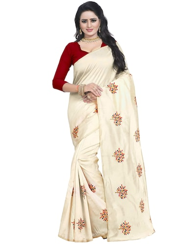 beige embroidered saree with blouse - 15734926 - Standard Image - 1