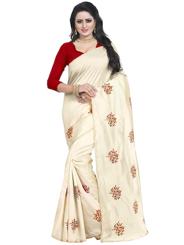 beige embroidered saree with blouse - 15734929 - Standard Image - 1