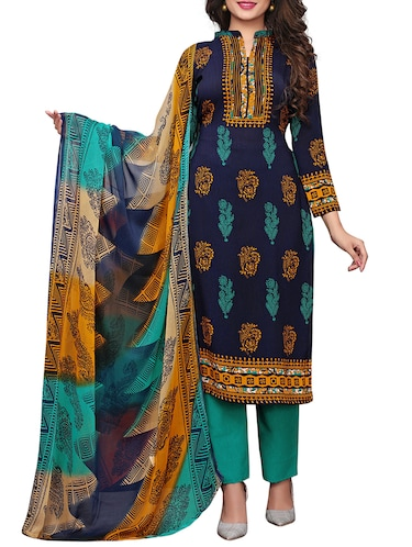 Printed unstitched palazzo suit - 15734944 - Standard Image - 1