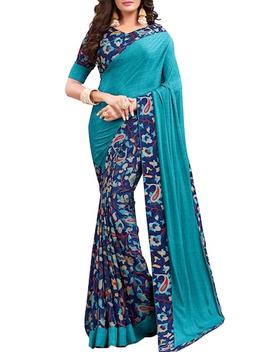 floral half and half saree with blouse - 15735027 - Standard Image - 1