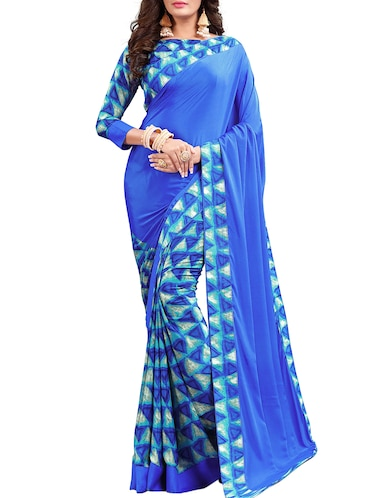 geometrical half and half saree with blouse - 15735028 - Standard Image - 1