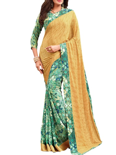 geometrical half and half saree with blouse - 15735030 - Standard Image - 1