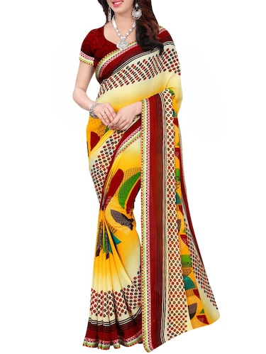 geometrical printed saree with blouse - 15735035 - Standard Image - 1