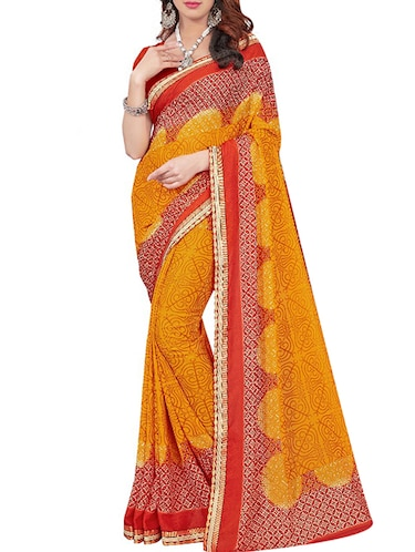 lace border printed saree with blouse - 15735036 - Standard Image - 1