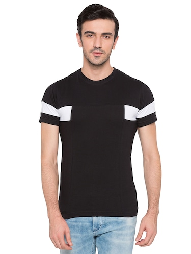 black cotton monochrome t-shirt - 15735274 - Standard Image - 1
