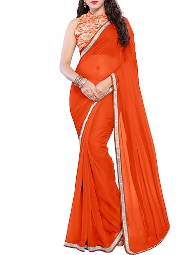 lace border orange saree with blouse - 15735292 - Standard Image - 1