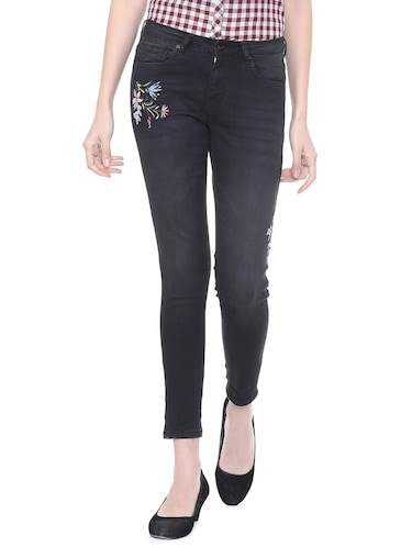 mid rise embroidered jeans - 15735320 - Standard Image - 1