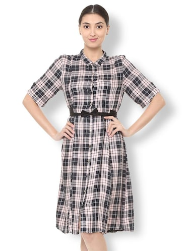 bow detail button up checkered dress - 15735388 - Standard Image - 1