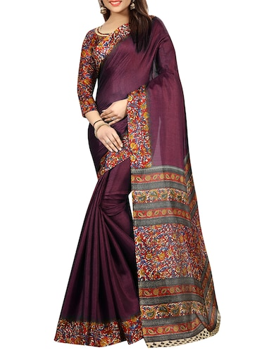 kalamkari printed border saree with blouse - 15735444 - Standard Image - 1
