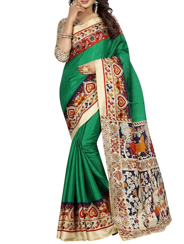 kalamkari printed border saree with blouse - 15735446 - Standard Image - 1