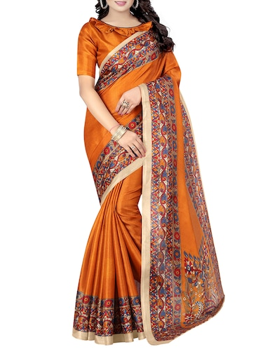 kalamkari printed border saree with blouse - 15735459 - Standard Image - 1