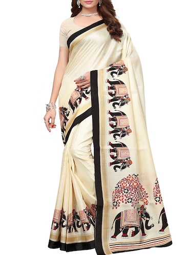 conversational printed saree with blouse - 15735464 - Standard Image - 1
