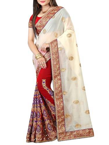 half & half embroidered saree with blouse - 15735739 - Standard Image - 1