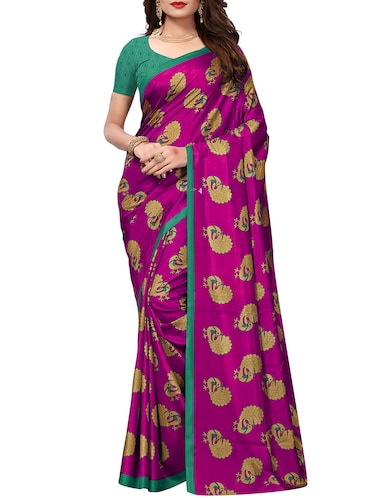 conversational printed saree with blouse - 15735830 - Standard Image - 1