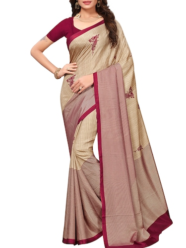 contrast striped printed saree with blouse - 15735833 - Standard Image - 1